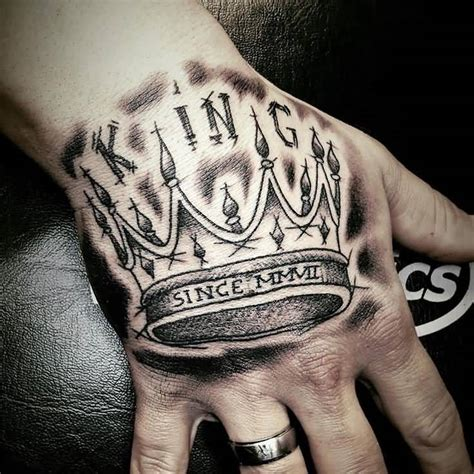 tattoo hand crown magnificent king crown tattoo on hand
