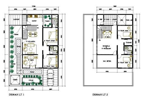 gambar denah rumah minimalis 2 lantai 4 kamar tidur