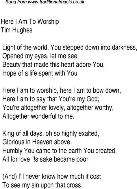 Printable Worship Lyrics | here i am to worship easy piano sheet music free tim
