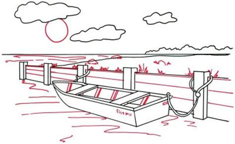 easy to draw rowboat 4 add the sun and water how to draw a rowboat at a
