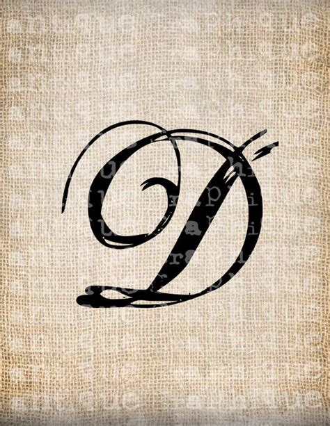letter d designs for tattoos antique letter d script monogram digital by