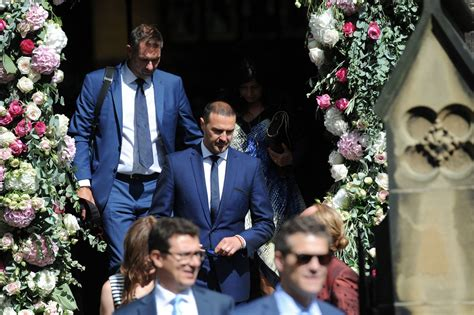 paddy mcguinness wedding photos declan donnelly and ali astall wedding guests leave the