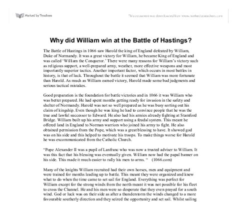 why did william win at the battle of hastings gcse
