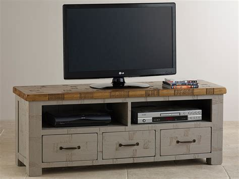 Painted Tv Cabinet by Clermont Painted Sawn Solid Oak Wide Tv Cabinet