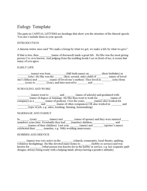 template eulogy eulogy template free
