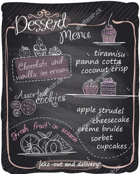 Dessert Menu Templates 21 Free Psd Eps Format Download Chalkboard Menu Template Free