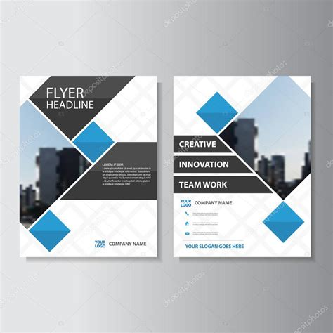 layout of a cover blue square vector corporate annual report leaflet