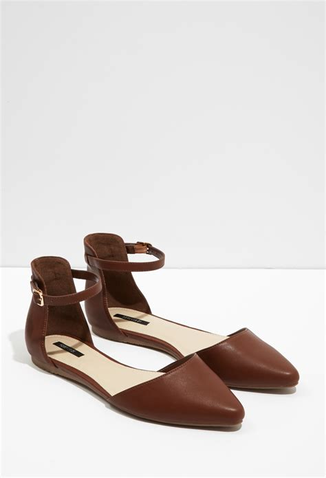 forever 21 flat shoes lyst forever 21 pointed ankle flats in brown