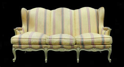 recovering settees 3 seater louis xv revival french wing sofa settee clean or