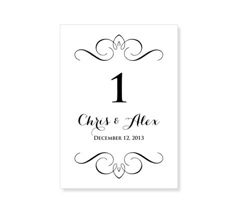 template wedding table number cards 6 best images of printable table number templates free