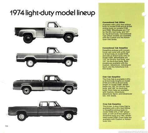 light duty truck comparison the 1970 hamtramck registry 1974 dodge dealership data