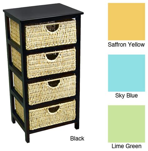 4 drawer compact wicker basket storage shelf
