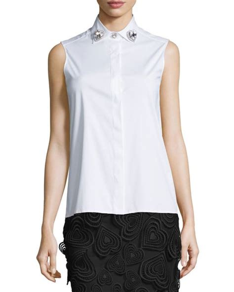 Blouse Christofer christopher sleeveless collar blouse in white lyst