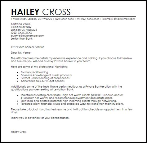 cover letter for personal banker investment banking cover letter template business