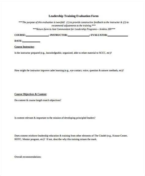 leadership evaluation form sle evaluation form