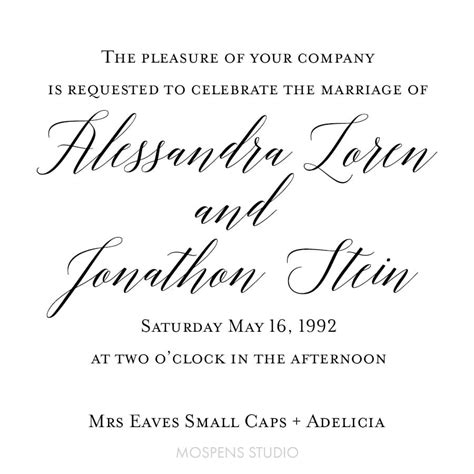 wedding font mrs eaves small caps font ideas 15 mospens studio custom wedding
