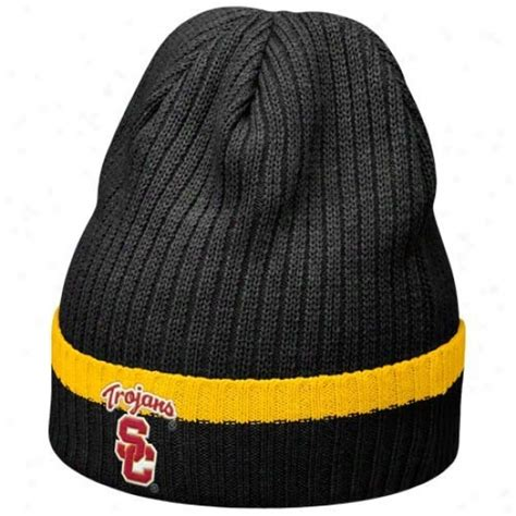 nike cuffed knit beanie trojans hat nike trojans black 2010 sideline cuffed knit