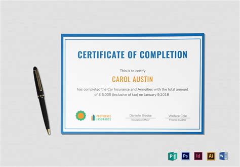 Insurance Completion Certificate Design Template In Psd Word Publisher Illustrator Indesign Indesign Certificate Template