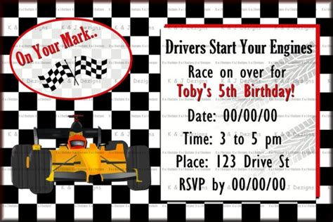 printable nascar birthday invitations nascar birthday party printable invitations by