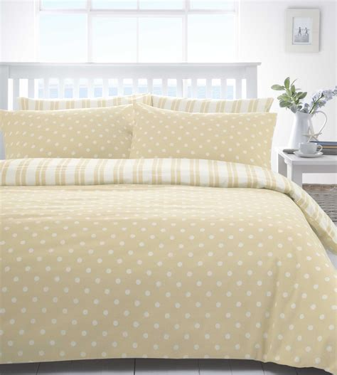 Natural Beige White Polka Dot Spot Or Stripe Duvet Quilt Linen Bed Set
