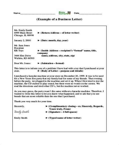 sample professional business letter templates