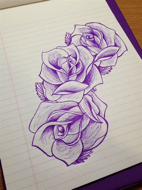 draw a tattoo rose sketch drawing beautiful design three flowers