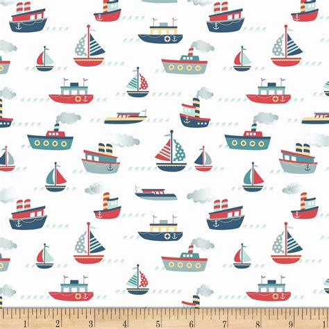 yacht pattern fabric riley blake fly aweigh boat white discount designer