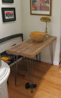 Narrow Kitchen Table by Small Kitchen Table Reclaimed Oak Hairpin Legs