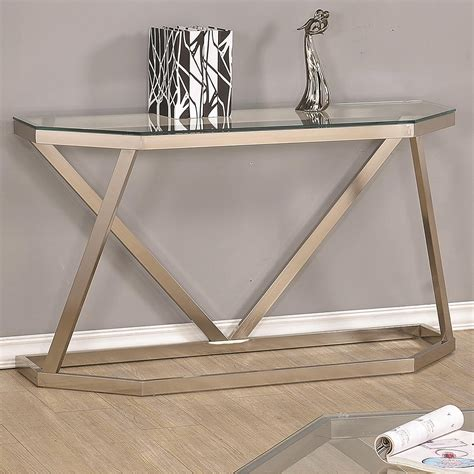 glass top sofa table hexagon nickel glass metal cleared tempered glass top sofa