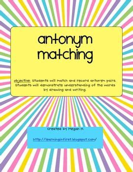 synonym words with f study page this is an antonym activity that is used for word work