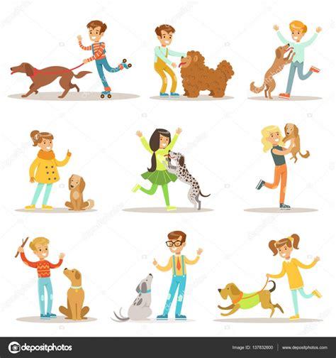 clipart cani bambini e cani illustrazioni insieme con bambini