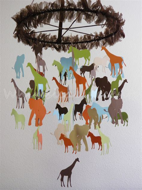 Paper Crib Mobile by Going On A Safari Baby Paper Nursery Mobile Large