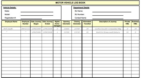 template of vehicle log book log templates free sle templates