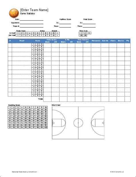 basketball stat sheet template basketball team roster template for excel