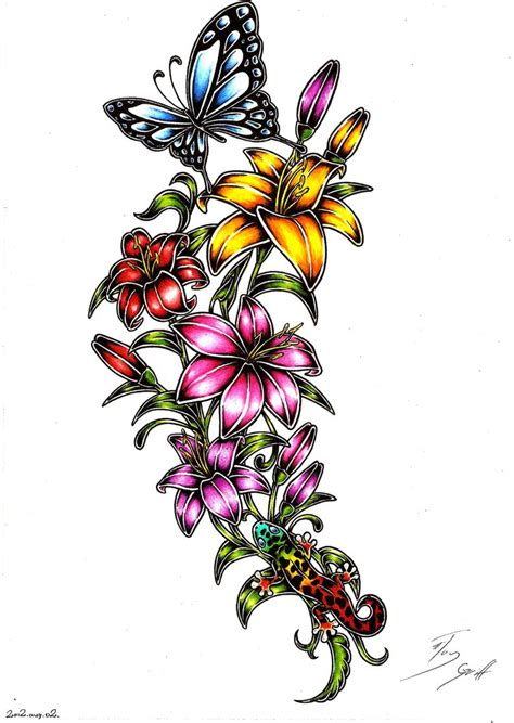 butterfly flower tattoo designs free designs search cool tattoos