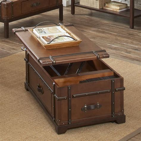 steamer trunk lift top coffee table 38703 latitudes