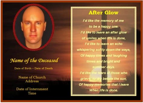 memorial card templates exle of funeral christian memorial card cross