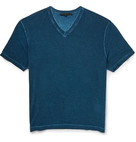 Gucci T Shirt V lyst gucci v neck lightweight jersey t shirt in blue for