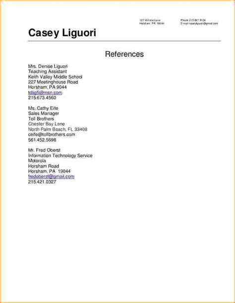 Resume References Format by Reference Resume Sle Best Professional Resumes