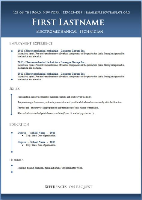 Resume Templates For Work by 50 Free Microsoft Word Resume Templates For