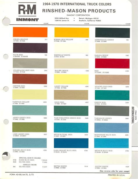 international paint color code chart ideas goldman motors 187 ih scout paint codes color chip