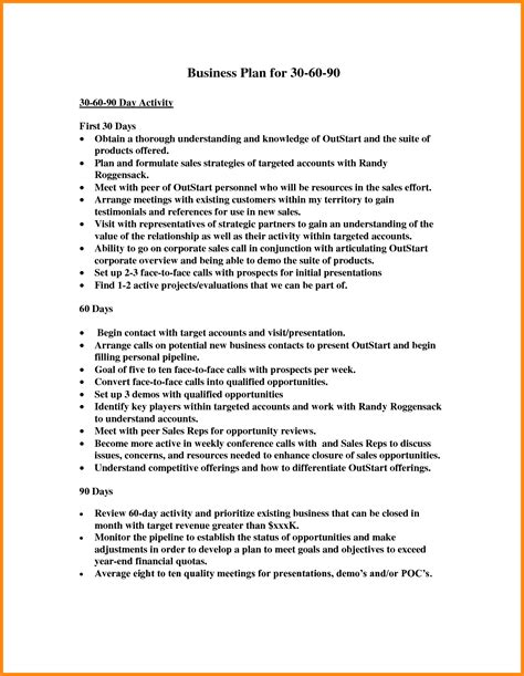 30 60 90 Day Sales Management Plan Template 7 30 60 90 Day Sales Plan Template Free Sle Driver Resume