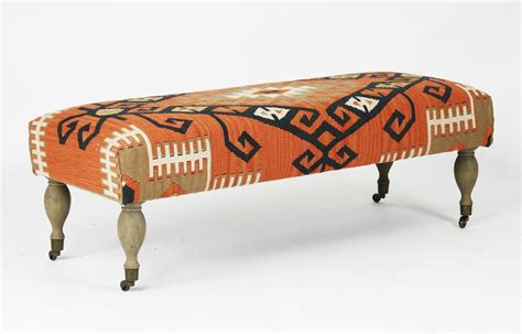 kilim ottoman bench rustic deep orange coral red woven kilim bench ottoman