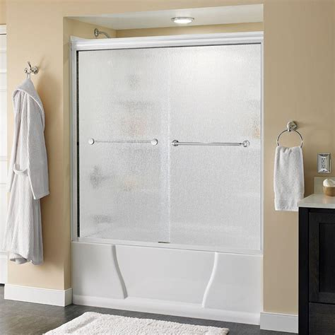 Two Panel Sliding Shower Bath Screen delta simplicity 60 in x 58 3 4 in semi framed