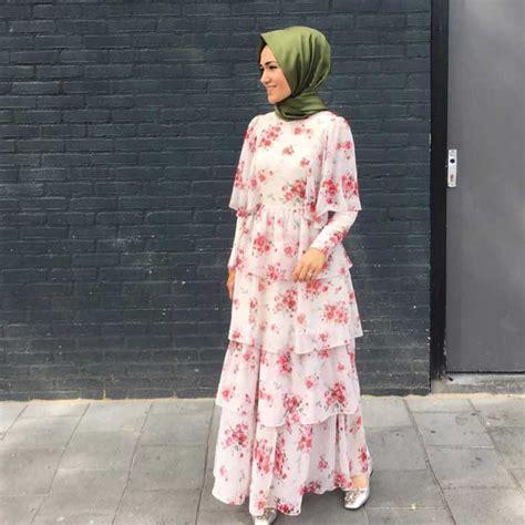 Gamis Wollycrepe Motif Bunga model baju gamis terbaru dan terpopuler unik
