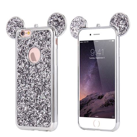 Softcase Tpu Bling Glitter Mickey Soft Cover Casing Iphone 4 4s bling glitter mouse ear soft tpu protective cover for