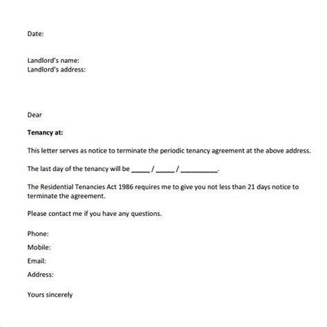 letter to vacate template sle notice to vacate letters 8 free