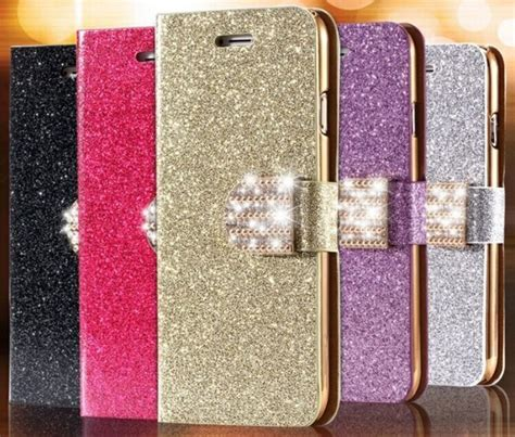 Flipcover Samsung 2 Doubel View luxury bling glitter iphone 7 pu leather flip cover