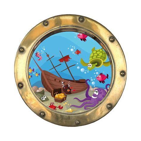 stickers trompe l oeil hublot bateau coul 233 tatoutex stickers - Dessin Bateau Avec Hublot