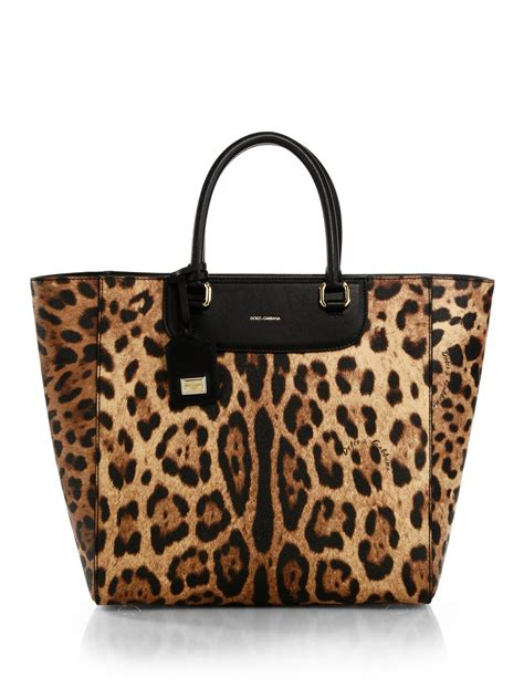 Dg Dolce And Gabbana Ocelot Print Tote by Dolce Gabbana Crespo Leopard Print Coated Canvas N S